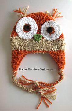 Halloween Autum Crochet Owl Ear flap Beanie Cap Hat with Diaper Cover NewBorn Infant Handmade $28.00