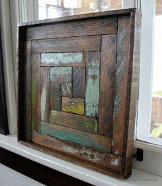 Reclaimed Wood Log Cabin Square, http://bec4-beyondthepicketfence.blogspot.com/2016/05/reclaimed-wood-log-cabin-square.html