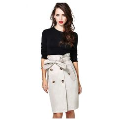 Button Paperbag Trench Skirt - ezbuy