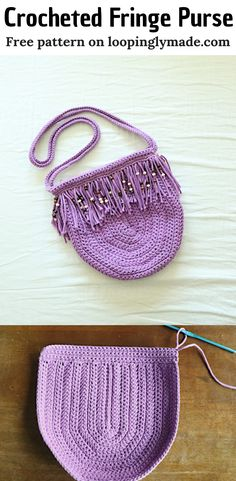[sc [sc Get ready to make this crocheted fringe purse. A splendid and chic crochet accesory for the stylish. It uses basic single and double crochet stitches. Experiment with fringes and beads for a boho style. This pattern… Continue Reading → Crochet Fringe, Cute Crochet, Crochet Crafts, Crochet Projects, Crochet Handbags, Crochet Purses, Crochet Bags, Crochet Designs, Crochet Patterns