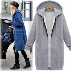 Cheap New Hooded Long-sleeved Sweater Coat Long Coat Thicker Coat Pullover For Big Sale!New Hooded Long-sleeved Sweater Coat Long Coat Thicker Coat Pullover Long Hooded Coat, Long Sweater Coat, Long Sleeve Sweater, Hooded Sweater, Hoodie Sweatshirts, Long Hoodie, Hoodie Jacket, Windbreaker Jacket, Winter Coats Women