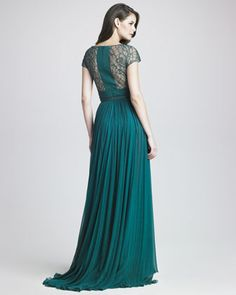--This, in blue-ish white will just be PERFECT!!    Elie Saab Lattice Chiffon Gown - Neiman Marcus