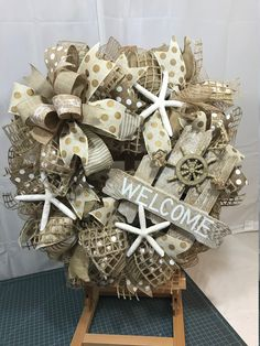 Your place to buy and sell all things handmade Starfish Wreath, Nautical Wreath, Tulle Wreath, Burlap Wreath, Deco Mesh Wreaths, Fall Wreaths, Beach Wreaths, Wire Wreath Forms, White Wreath