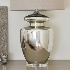 Large Silver Urn Table Lamp & Shade - This beautiful silver urn table lamp  just goes to show that classic design never goes out of style. #silver #