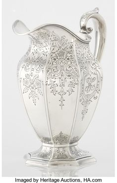 AN AMERICAN SILVER WATER PITCHER. Gorham Manufacturing | Lot #71550 | Heritage Auctions Silver Water, Water Pitchers, Antique Silver, Auction, Bronze, Brass, Ceramics, Sterling Silver, American