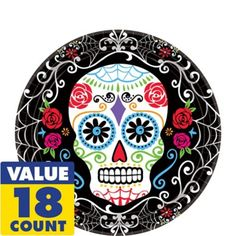 Sugar Skull Dessert Plates 18ct - Day of the Dead - Party City