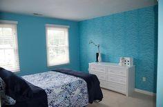 Teen girl bedroom. Tiger stripe wall stencil.