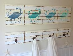 SALE 10  OFF Nautical Wooden Beach House Crab by MeetMeByeTheSea, $150.00. Mikes bathroom with a few changes/fish not crabs