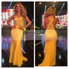 vestidos Elegant Yellow Lace Long Evening Dresses 2015 Sheer Scoop Applique Sexy Mermaid Prom Dress Cheap Women Maxi Party Dress