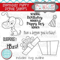 Have a doggone good birthday!This DIGITALset of 7stamps featurescute little puppy, a gift box just for him, andfunsentiments to match.  These digital stamps come in threeformats: PNG, JPG, (both @ 300 dpi resolution) and ABRfiles.JPG images have a white background, PNG images have a transparent background. ABR files are Photoshop and Photoshop Elements brush files.  SVG outlines for the images are also included in this set. These cutting files will make cutting out your digital…