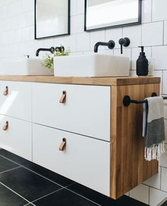 Ikea Hacks: Three ideas for your leftover countertops — Mountainside Home - Ikea DIY - The best IKEA hacks all in one place Ikea Hack Bathroom, Ikea Bathroom Vanity, Modern Bathroom, Small Bathrooms, Vanity For Small Bathroom, Ikea Hack Vanity, Master Bathroom, Ikea Hack Kitchen, Small Space Bathroom