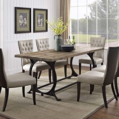 Instill lasting memories with the Effuse industrial modern dining table. Fashioned with a cast iron base and solid pine wood top, Effuse could easily be confused with a draftsman's table. But on closer inspection, this rustic piece becomes appreciated as an artisan's symbolic rendering of the industrial age aesthetics. SKU: EEI-1205-BRN #homethreads #effuse #diningtable #woodtable Farmhouse Dining Room Table, Dining Room Table Decor, Modern Dining Table, Dining Room Design, Modern Farmhouse Table, Solid Wood Dining Table, Tall Dining Room Table, Dinning Table Centerpiece, Eat In Kitchen Table