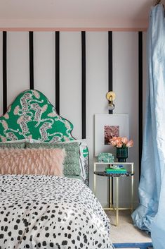 After: Black and White Stripes. Accent Wall: But horizontal. Photo of After: Black and White Stripes Striped Walls Bedroom, Striped Accent Walls, Accent Wall Bedroom, Bedroom Green, White Bedroom, Black Bedroom Furniture, Bedroom Decor, Bedroom Ideas, Rustic Bedroom Design