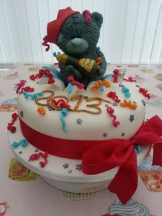 New Year Teddy Cake - by welshcottagecupcakes @ CakesDecor.com - cake decorating website