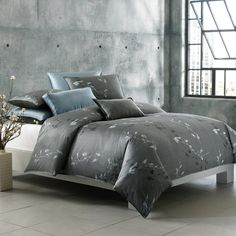 Create a Zen experience in your bedroom with this duvet cover with a printed Asian lead motif in shades of charcoal, gray and hints of teal. The soothing color palette and pattern are sure to set the mood and offer a stylish look for your decor. Grey And Teal Bedding, Gray Bedroom, Home Bedroom, Master Bedrooms, Master Bedroom Makeover, Cool Beds, Home Decor Inspiration, Design Inspiration, Comforter Sets