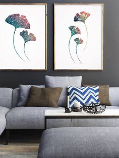 Ginkgo Plant Blue Wall Painting Abstract Blue Poster Wall by LadyWatercolor | Etsy #watercolor #ginkgo #art #illustration #blue  #prints #plant #botanic #herb #set #plant #wall #painting #abstract #poster