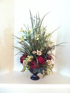 Kitchen Table Centerpiece - Silk Floral Arrangement by Greatwood Floral Designs.