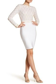 Wow Couture Mesh and Bead Detail Long Sleeve Dress