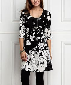 Another great find on #zulily! Black & White Floral Empire-Waist Tunic Dress - Plus Too #zulilyfinds