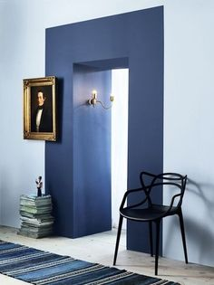 I've been looking for a way to add interest to a bland hallway entry off of my living room. By choosing a complimentary color for the hall, and the… …