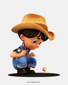 Check this 3D Kid Farmer Character