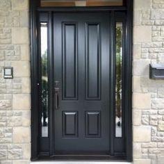 Side Light Entry Doors | Amberwood Doors Inc. Modern Entrance Door, Main Entrance Door Design, Wooden Front Door Design, Door Gate Design, Wooden Front Doors, Painted Front Doors, Entry Doors, Beautiful Front Doors, Black Front Doors