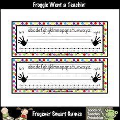 You will receive 2 multi-colored deskplates. Deskplates includes the alphabet, a number line with numbers 0 to ruled lines for writing the stu. Classroom Supplies, Classroom Setup, Classroom Organization, Writing Activities, Teaching Resources, Name Practice, Preschool Kindergarten, Preschool Ideas, Music And Movement