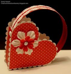 I just made a Soft version of this with just paper. Today I am going to try this Cardstock version with a pretty handle. LOVE it. Fill with candy.