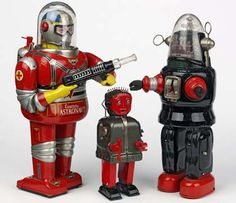 "Tin robot toys made in Japan for the American market during the ""golden age"" of space toys in the 1950s and 1960s"