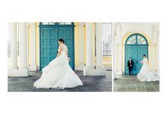 Hochzeits Bilder von Brautpaar ! Bride is dancing with her bride dress.