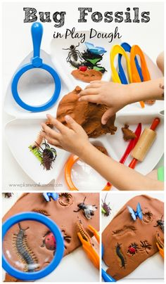 Learn about bugs with this Bug Fossils Play Dough Invitation to Play. Book pairings and activities included in post.