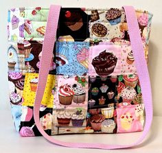 Quilted Cupcake Fabric Tote by Suefisk on Etsy, $45.00
