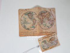 Kit de viagem - Mapa Vintage  :: flavoli.net - Papelaria Personalizada :: Contato: (21) 98-836-0113 - Também no WhatsApp! vendas@flavoli.net 98, Vintage World Maps, Travel Kits, Personalized Stationery, Craft