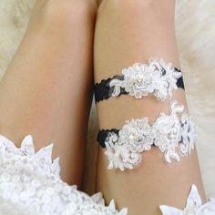Black Wedding Garter Lace Set Unique Beaded Bridal Belt By SpecialTouchBrida