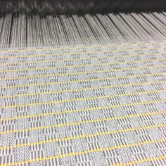 M's and O's ☺ #weaving #jacquard #yellowandgrey #weaversofinstagram #structures #weave #loom #jacquardloom