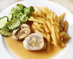 Denné menu Vranov | Roláda z vykosteného kuracieho stehna plnená žemľovou plnkou, hranolky - reštaurácia Hotel Patriot*** #hotel #restaurant