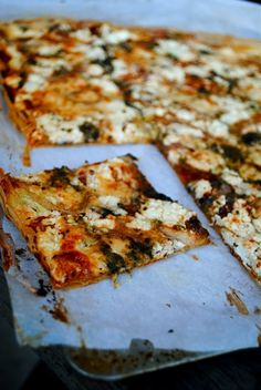 Phyllo pizza - made this with pesto, mushrooms, spinach, mozzarella, Parmesan, and goat cheese. So good! And a little less time-consuming than making pizza dough (but it still takes a while to build the layers).