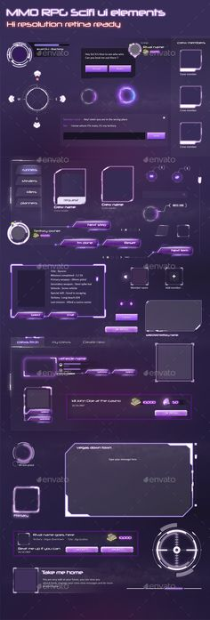 MMO RPG - Sci Fi Game UI Elements - User Interfaces Game Assets