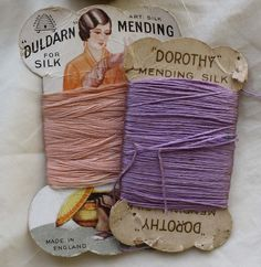 Vintage silk threads... pink thread and lilac thread