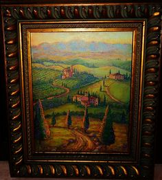 Sale  Golden Tuscan Painting 8x10 Sunrise Painting  by GramsArt, $45.00 Large Painting, Painting Frames, Sunrise Painting, Winding Road, Tuscan Style, Red Poppies, Wine Country, Tuscany, Landscape Paintings