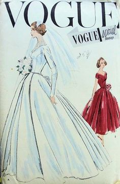 1950s BEAUTIFUL WEDDING DRESS BRIDAL GOWN PATTERN BREATHTAKING DESIGN VOGUE SPECIAL DESIGN PATTERNS 4747