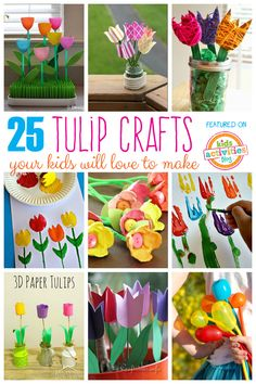 Nothing says spring more than a row of beautiful tulips! Here are lots of fun tulip crafts for kids. Spring Crafts For Kids, Diy Projects For Kids, Easy Crafts For Kids, Toddler Crafts, Crafts To Do, Diy For Kids, Craft Kids, Craft Free, Project Ideas