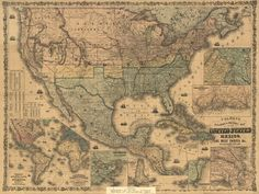 Historic Railroad Map of the United States & Mexico - 1862