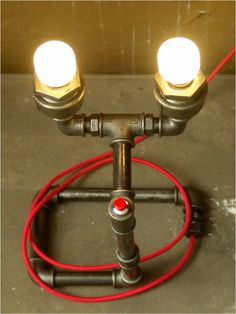 Metal table lamp assembled of pipes two bulb e14 red fabric cable metal table lamp assembled of pipes two bulb e14 red fabric cable and red greentooth Image collections