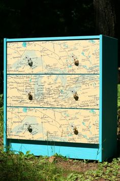 Makeover an unfinished Ikea dresser using maps from an area with personal meaning.