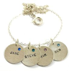 Personalized Necklace 4 Names with Birthstoness  by SariGlassman, $68.00