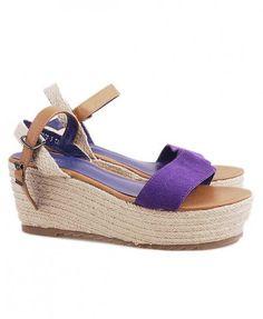 Purple Suede Leather Flatform Sandals