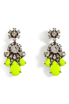 Shourouk - Neon Yellow Crystal DS Earrings from Stylebop. Saved to Baubles. Shop more products from Stylebop on Wanelo. Cute Jewelry, Jewelry Box, Jewelery, Jewelry Accessories, Family Jewels, Neon Yellow, Statement Jewelry, Fashion Online, Stud Earrings