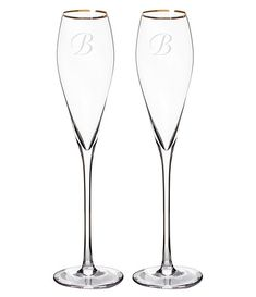 Cathy's Concepts Initial Champagne Flutes, Set of 2 Wedding Toasting Glasses, Champagne Flutes, Flute Glasses, Glass Etching, Fall Wedding, Wedding Ideas, Hand Blown Glass, Swirls, Dillards