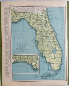 Map Antique Rand McNally Cos New Business Atlas Map of Florida